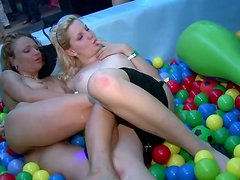 Ardent lesbos switch from licking the pussies to sucking the cocks for cum