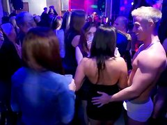 Adorable gals in short dresses get their tits jammed and wanna be fucked in club