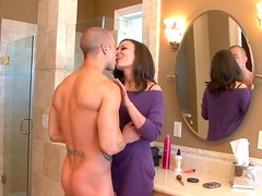 Hot and horny brunette riding a young hunk with big shaft
