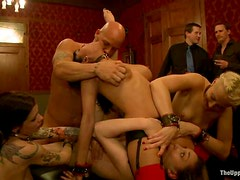 Hot female sex slaves get fucked hard at a party