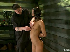 Lyla Storm gets her wet soaking pussy pounded with a toy in BDSM scene
