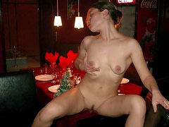 Slideshow of Margarita naked in a restaurant