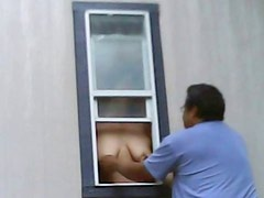 Hidden Cam Wife Hangs Tits Out Window