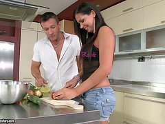 Cooking breakfast together transforms into hard banging in the kitchen