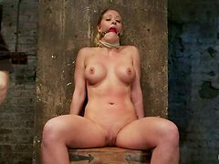 Busty Blonde Getting Toyed while Tied with a Gag Ball in Her Mouth