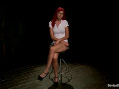 Nice redhead girl gets chained, toyed and tortured