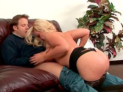 Well stacked skilled blonde  MILF gives one young guy eager blowjob