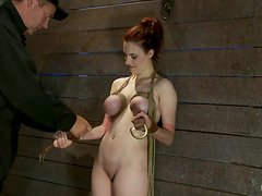 Busty Iona Grace gets her tits fastened with mousetraps