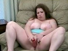 Bbw women plays with toy