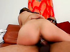 Honey Dejour pumping her wet pussy on huge black dong