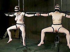 Vulnerable pain slut pussy get pulverized by the meanest machines around.