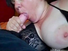 Big Titted MILF loves to Blow and get Showered with Cum