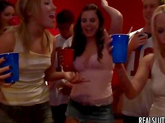 Drunk party girls crave cock