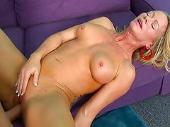 Hot blonde mom gives her neighbors cock a treat