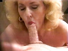 Mature blond cocksucker working