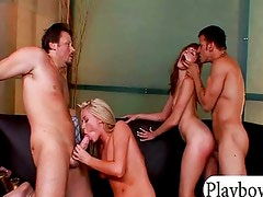 Two hot babes have a foursome action