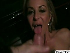 Real amateur hooker fuck and facial in a taxi