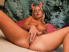 Devil playing with her pussy