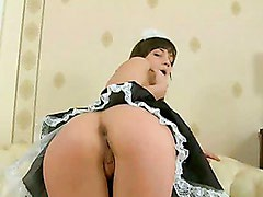 Another lusty housemaid can?t resist taking a fat cock in her sweet  fucking holes while on duty