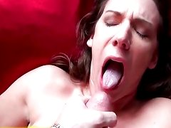 Ebarrased girlfriend takes a mouthful