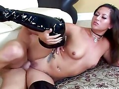 Hot Latina nailed for a facial