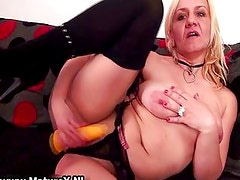 Horny blond experienced mom is touching