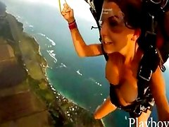Superb naked babes trying out skydiving