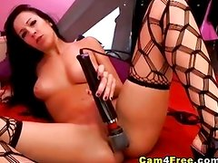 Fishnet babe squirts on cam