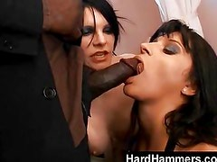 Two nasty whores and one fat black cock