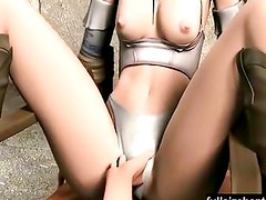 A tied 3d girl starts to get played