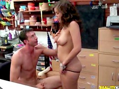 Whore rides dick in store
