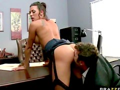 Office affair with busty slut