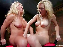Blondes play with a dildo