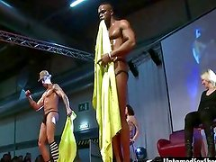 Two male stripper give a live show