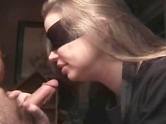 Yummy wife sucking blindfolded