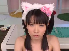 Japanese kitty Uruha Mizuki enjoys sucking a hard cock