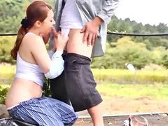 Mature Japanese Chick Gets Caught Sucking Cock Outdoors