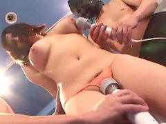 Perky boobed Asian cutie is forced to cum by two guys