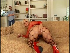 He watches big ass blonde girl toy fuck her pussy