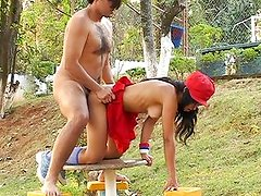 Naughty teen public fuck in the park