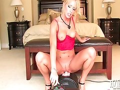 Cassie Rides the sybian machine