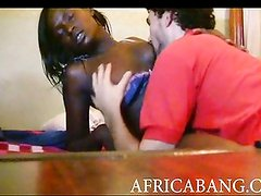 African plowed in her black cunt and cum