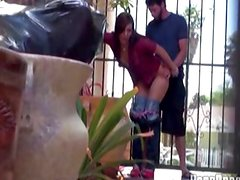 Amateur couple have sneaky outdoor fuck