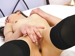 Black stockings and babes hole rubbing