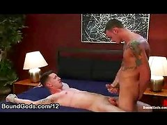 Gay rubs his cock on bound guy