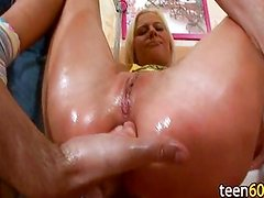 guy playing with anal beautiful blondes