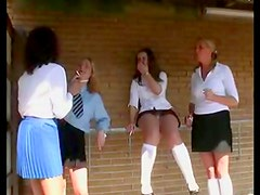 Four schoolgirls spanked and caned