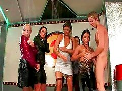 Wet pretty girls relax with one stud