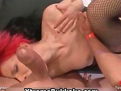 Skanky whore in sexy fishnet stockings