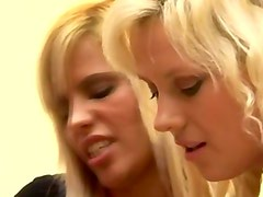Cfnm brunettes and blondes give a handjob to a british guy